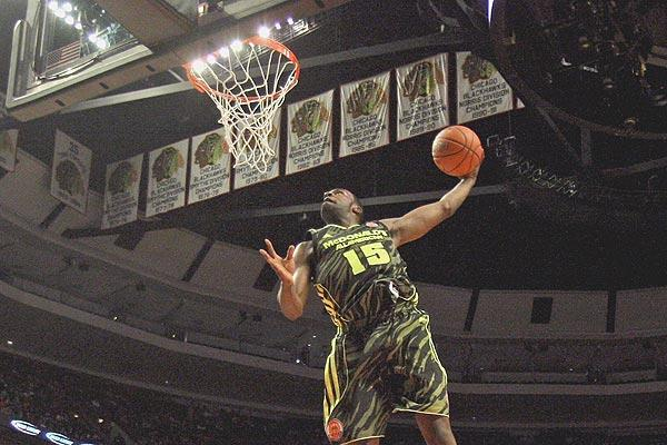 Shabazz Muhammad goes up for a jam at the McDonald's All-American game in March