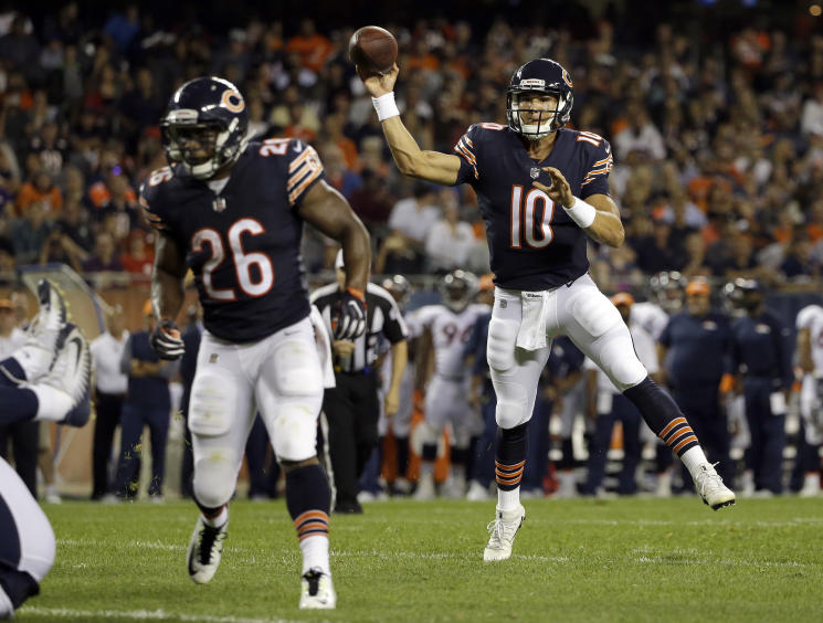 Bears rookie quarterback Mitchell Trubisky pumped some life into Chicago's offense on Thursday night. (AP)