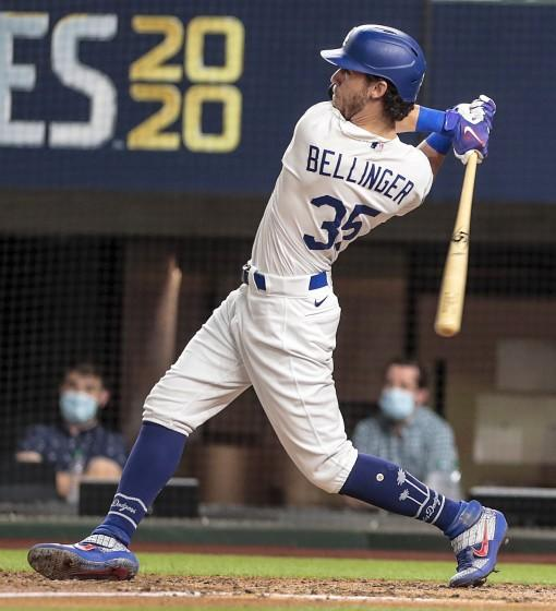Arlington, Texas, Tuesday, October 20, 2020Los Angeles Dodgers center fielder Cody Bellinger (35) homers.
