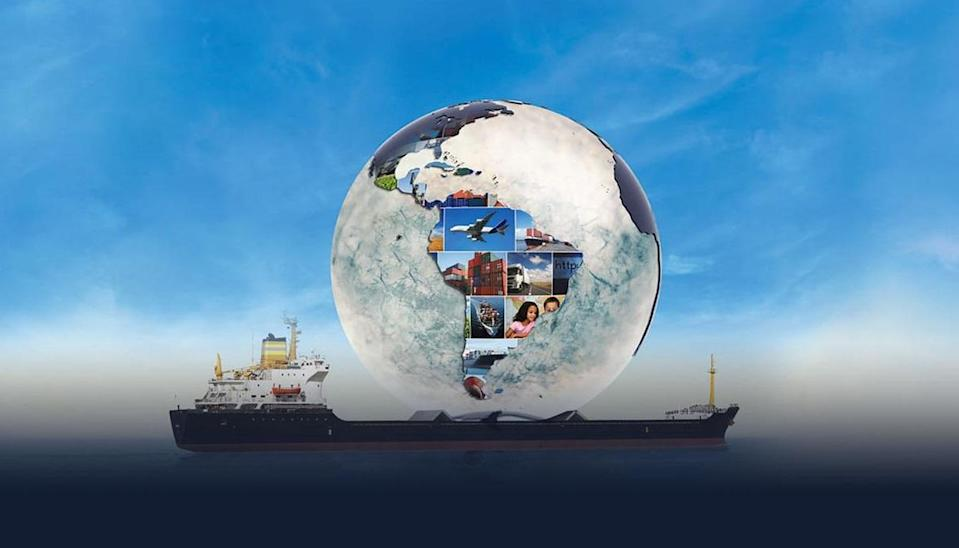 Cargo ship with a glass globe superimposed on top of it.
