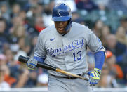 Kansas City Royals' Salvador Perez (13) reacts after striking out during the first inning of a baseball game against the Detroit Tigers Saturday, Sept. 25, 2021, in Detroit. (AP Photo/Duane Burleson)