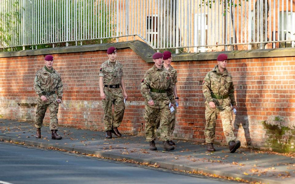 Members of 13 Air Assault Regiment RLC on the remembrance trail. -  Cpl Danny Houghton / PA