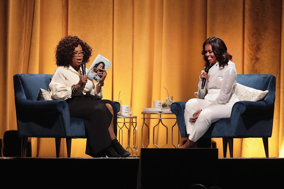 The former First Lady was interviewed about her memoir by the legendary broadcaster in 2018. (Getty Images)