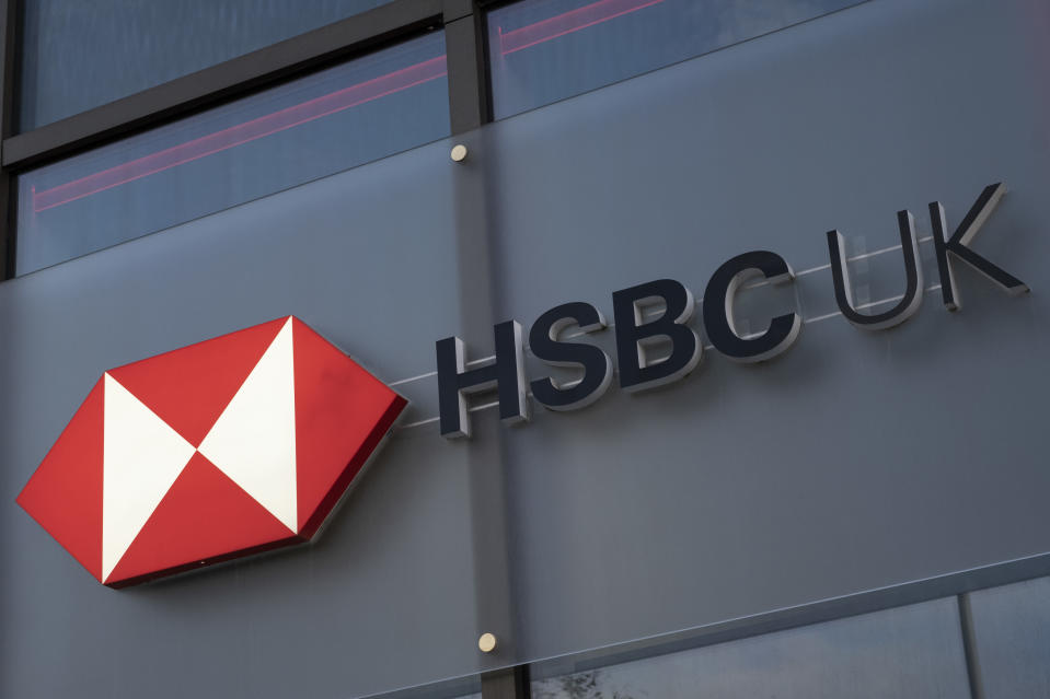 Sign for the brand and high street bank HSBC on 5th November 2020 in Birmingham, United Kingdom. HSBC Bank plc is a British multinational banking and financial services organisation. HSBC's international network comprises around 7,500 offices in over 80 countries globally. (photo by Mike Kemp/In Pictures via Getty Images)