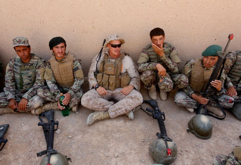 FILE PHOTO: A U.S. Marine talks with Afghan National Army (ANA) soldiers during a training in Helmand province