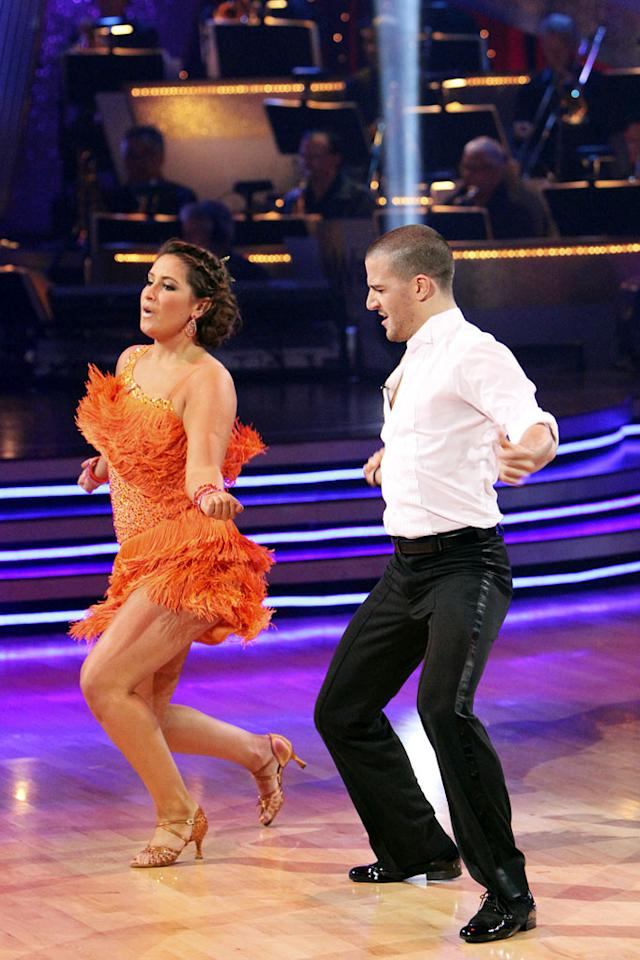 """Week 8: An insufficiently smoldering Argentine tango and so-so samba earned Palin a 47, the lowest score of the week. But she outlasted Kurt Warner, who departed to audience chants of """"MVP."""" <a href=""""http://www.thewrap.com/television/article/how-bristol-palin-made-it-dancing-finals-22756"""" rel=""""nofollow"""">Source: The Wrap</a>"""