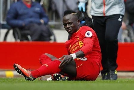 Liverpool's Sadio Mane after sustaining an injury