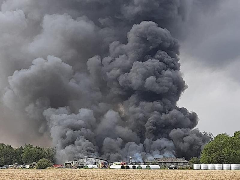 Thick plumes of dark smoke seen at Parham Airfield (James Mannall)