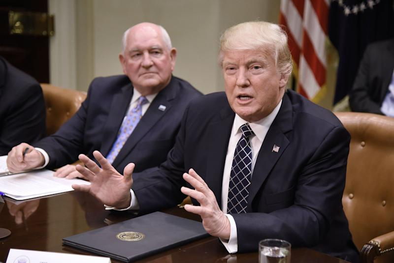 President Donald Trump speaks as Agriculture Secretary Sonny Perdue looks on during a roundtable with farmers at the White House on April 25 in Washington.