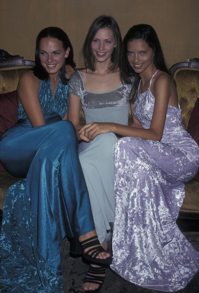 <p>Leanne Spencer, Tarryn Meaker and Adriana Lima attend Ford Models Inc 'Supermodel of the World' Press Conference on January 30, 1997. We wish purple velvet was back in fashion! Source: Getty </p>