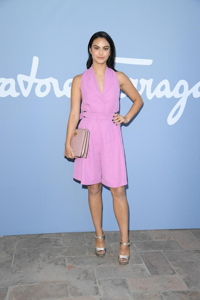 Cami went pastel during Milan Fashion Week in this pretty orchid-hued sundress and silver ankle-strap heels.