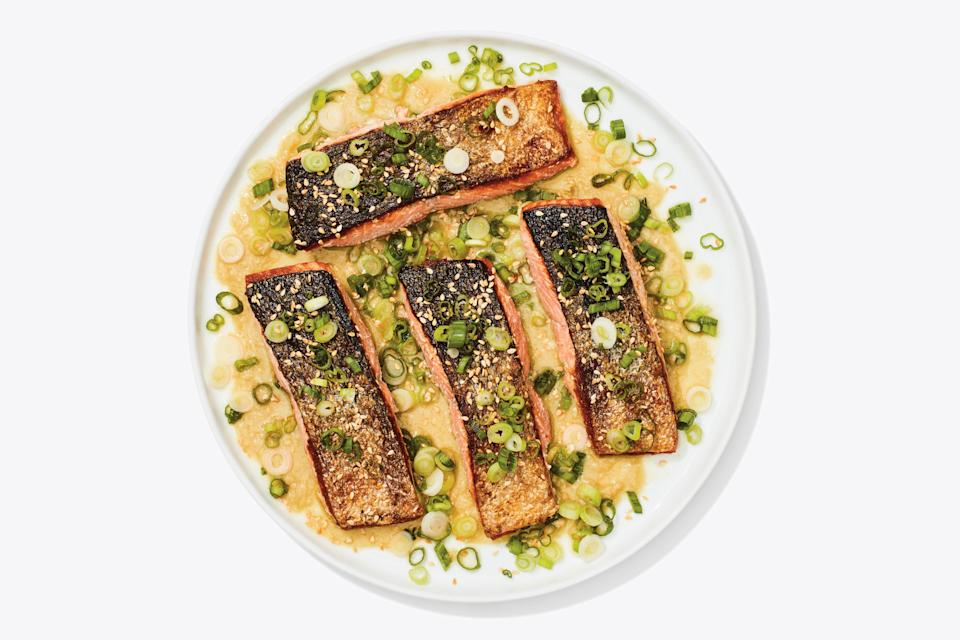 "<a href=""https://www.bonappetit.com/recipe/crispy-skin-salmon-with-miso-honey-sauce?mbid=synd_yahoo_rss"" rel=""nofollow noopener"" target=""_blank"" data-ylk=""slk:See recipe."" class=""link rapid-noclick-resp"">See recipe.</a>"