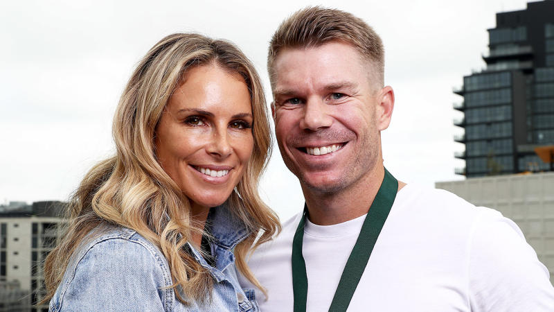 AB Medallist David Warner poses with his wife Candice Warner after winning the AB Medal.