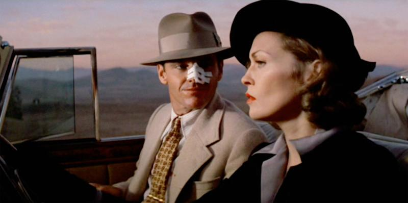"""LOS ANGELES - JUNE 20: The movie """"Chinatown"""", directed by Roman Polanski and written by Robert Towne. Seen here, Jack Nicholson as J.J. 'Jake' Gittes and Faye Dunaway as Evelyn Cross Mulwray. Initial theatrical release June 20, 1974. Screen capture. Paramount Pictures. (Photo by CBS via Getty Images)"""