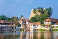 Padmanabhapuram Palace in front of Thiruvananthapuram, India - Padmanabhaswamy temple was built in the Dravidian style and principal deity Vishnu is enshrined in it lacated on temple pond