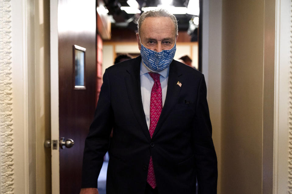 Senate Majority Leader Chuck Schumer of N.Y., leaves a news conference, Tuesday, Jan. 26, 2021, on Capitol Hill in Washington. (AP Photo/Jacquelyn Martin)