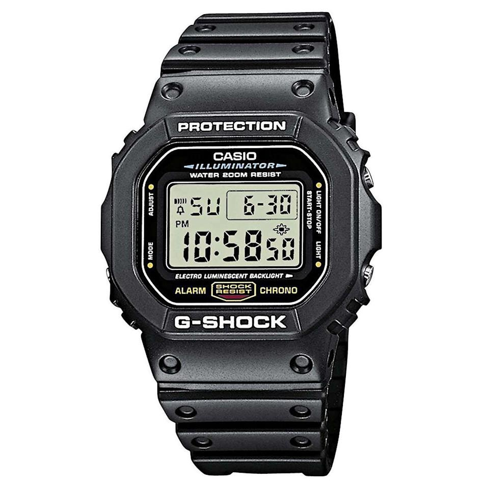 "<p><strong>Casio</strong></p><p>amazon.com</p><p><strong>$45.79</strong></p><p><a href=""https://www.amazon.com/dp/B000GAYQKY?tag=syn-yahoo-20&ascsubtag=%5Bartid%7C2089.g.32926760%5Bsrc%7Cyahoo-us"" rel=""nofollow noopener"" target=""_blank"" data-ylk=""slk:Shop Now"" class=""link rapid-noclick-resp"">Shop Now</a></p><p>The Casio G-Shock DW5600 digital watch is one of the coolest sub-$50 gifts for an avid gearhead. The lightweight and rugged timepiece is a remake of Casio's <a href=""https://www.bestproducts.com/tech/gadgets/g2088/popular-tech-gadgets-through-the-years/?slide=18"" rel=""nofollow noopener"" target=""_blank"" data-ylk=""slk:iconic, first-ever G-Shock"" class=""link rapid-noclick-resp"">iconic, first-ever G-Shock</a> that debuted almost four decades ago. It's as timeless as it gets.</p><p>Of course, the G-Shock DW5600 is waterproof up to 200 meters, as well as equipped with excellent backlighting. Its digital movement is packed with timekeeping features, including an alarm, a countdown timer, and a stopwatch, among many others.</p>"