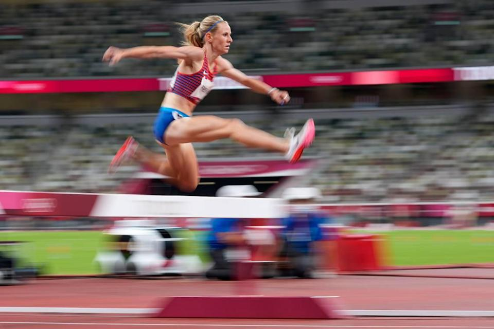 Courtney Frerichs, of the United States, competes in the women's 3,000-meter steeplechase final at the 2020 Summer Olympics, Wednesday, Aug. 4, 2021, in Tokyo. (AP Photo/Petr David Josek)