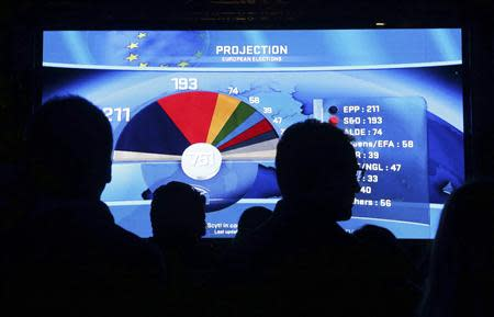 People watch a board displaying provisional results of the European Parliament election at the EU Parliament in Brussels