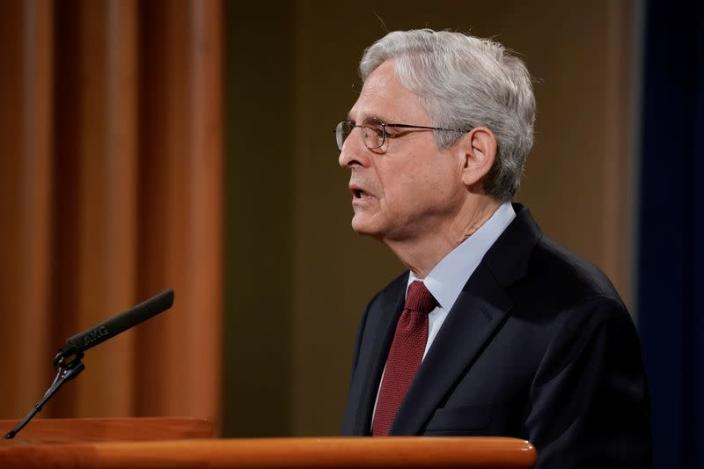 FILE PHOTO: U.S. Attorney General Merrick Garland announces that the Justice Department will file a lawsuit challenging a Georgia election law, in Washington