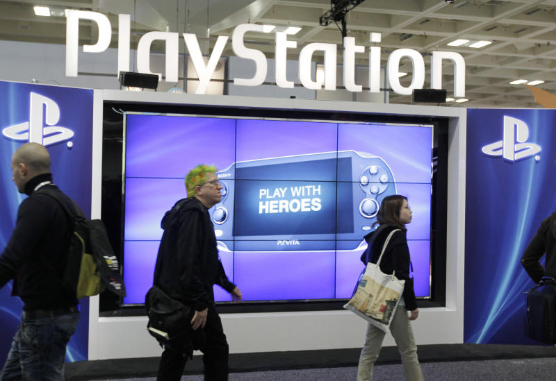 Sony PlayStation PS Vita console on display in the Sony PlayStation booth at the Game Developers Conference in San Francisco, Thursday, March 8, 2012. (AP Photo/Paul Sakuma)