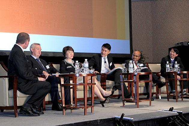The five-man panel at the PricewaterhouseCoopers Budget 2012 discussion included tax partner David Sandison, IBM managing director Janet Ang, MP for Tampines GRC Baey Yam Keng, economist Amitendu Palit and COO of the Singapore Business Federation Victor Tay. (Photo courtesy of PwC LLP)