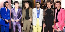 <p>Harry Styles began experimenting with elaborate suits while he was still performing with One Direction, but since he's gone solo, his interest in fine tailoring has reached full-on obsession status. Whether he's on TV or performing on tour, he's almost always in a gorgeous suit...and he rarely wears the same one twice. Here, a look back at some of his best suits. </p>