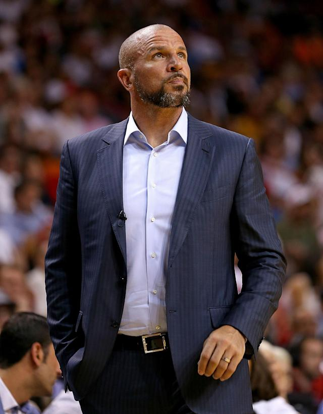 FILE - JUNE 30: According to reports June 30, 2014, the Milwaukee Bucks have hired Jason Kidd as head coach and fired coach Larry Drew. The Bucks will send two second-round draft to the Brooklyn Nets in compensation. MIAMI, FL - APRIL 08: Jason Kidd of the Brooklyn Nets looks on during a game against the Miami Heat at AmericanAirlines Arena on April 8, 2014 in Miami, Florida. (Photo by Mike Ehrmann/Getty Images)