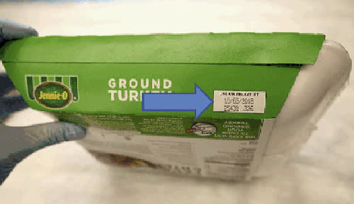 This image provided by Hormel Foods on Friday, Nov. 16, 2018 shows the production code information on the side of the sleeve of Jennie-O-Turkey that is being recalled. Jennie-O-Turkey is recalling more than 91,000 pounds of raw turkey in an ongoing salmonella outbreak. Regulators say additional products from other companies could be named as their investigation continues. The products being recalled include 1-pound packages of raw, ground turkey and were shipped to retailers nationwide. Regulators say the product should be thrown away and not eaten. (Hormel Foods via AP)