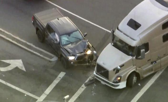 A murder suspect led authorities on an hours-long pursuit through four counties that came to a crashing end in Pomona.