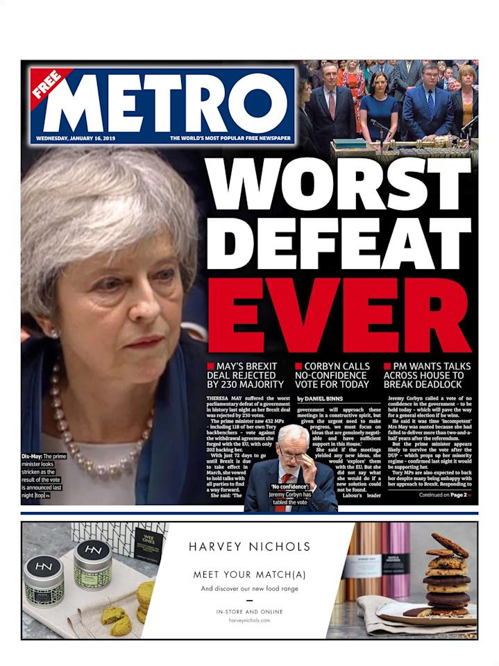 "<p>Metro called the Commons outcome the ""worst defeat ever"" (Picture: Metro) </p>"