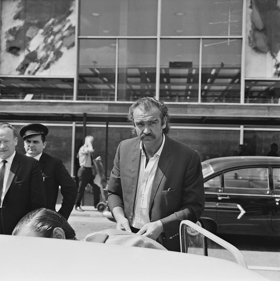 <p>Scottish actor Sean Connery arriving at London airport, 30th June 1967. </p>