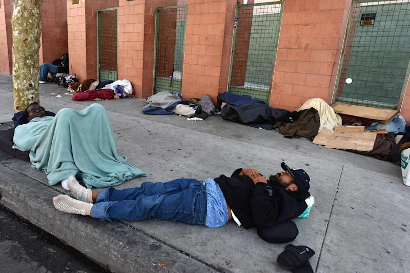 Los Angeles' Skid Row contains one of the largest populations of homeless people in the United States (AFP Photo/Robyn Beck)