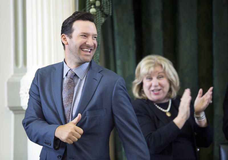 Tony Romo is off to a good start in his broadcasting career. (AP)