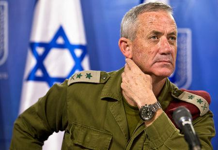 FILE PHOTO: Israeli military chief Lieutenant-General Benny Gantz attends a news conference in Tel Aviv, Israel
