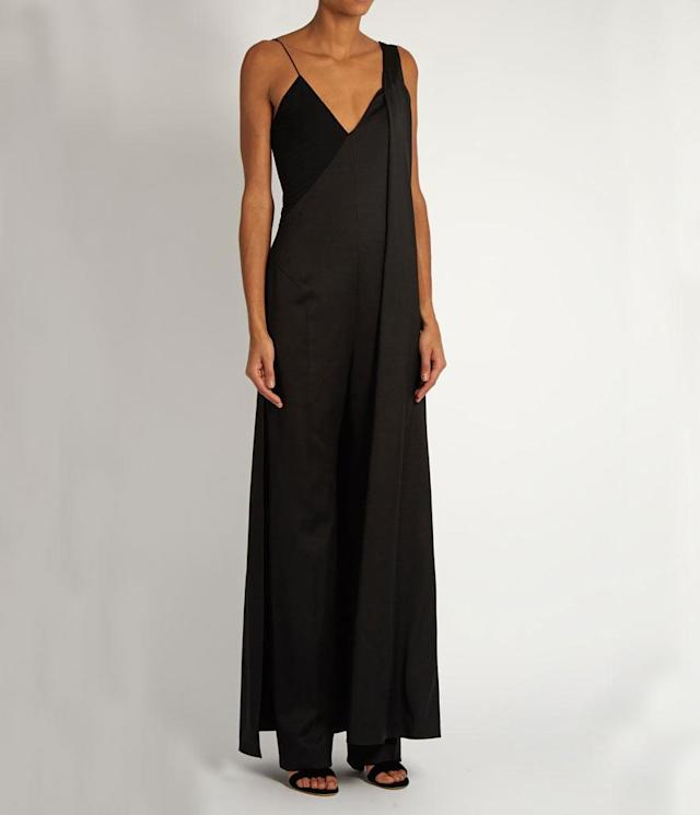 "<p>Cape Back Wide Leg Wool Jumpsuit, $655,<a href=""https://www.matchesfashion.com/us/products/Esteban-Cort%C3%A1zar-Cape-back-wide-leg-wool-jumpsuit--1060158"" rel=""nofollow noopener"" target=""_blank"" data-ylk=""slk:matchesfashion.com"" class=""link rapid-noclick-resp""> matchesfashion.com</a> </p>"