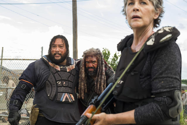 Cooper Andrews as Jerry, Khary Payton as Ezekiel, and Melissa McBride as Carol in <em>The Walking Dead</em> (Photo Credit: Gene Page/AMC)