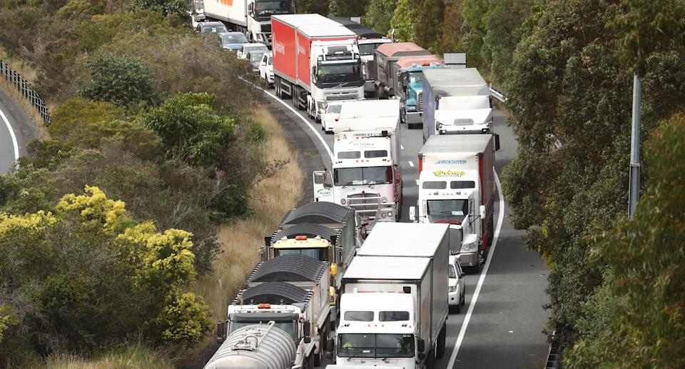 Scenes on the Pacific Motorway at the Queensland and New South Wales border on the Gold Coast. Source: AAP