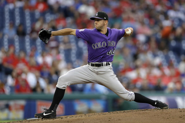 Colorado Rockies' Tyler Anderson pitches during the third inning of the team's baseball game against the Philadelphia Phillies, Wednesday, June 13, 2018, in Philadelphia. (AP Photo/Matt Slocum)