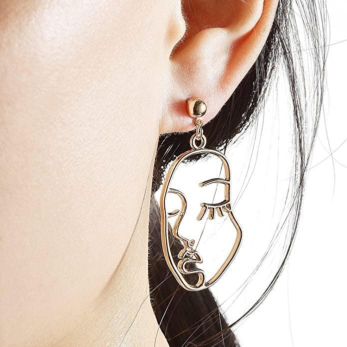 <p>These <span>Mookoo Face Abstract Gold Statement Earrings</span> ($10) are conversation starters.</p>