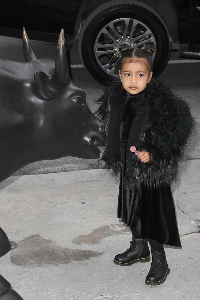<p>When in New York, dress like a New Yorker. No child does the all black goth look better than North. (Photo: Backgrid) </p>