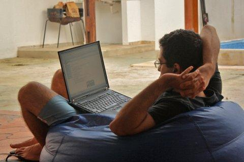 working from home beanbag