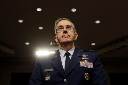 U.S. Air Force General John Hyten, Commander of U.S. Strategic Command, arrives to testify before a Senate Armed Services Committee hearing on Capitol Hill in Washington, U.S., April 4, 2017. REUTERS/Yuri Gripas/Files