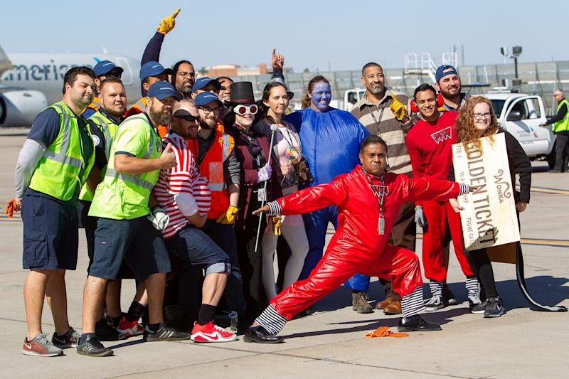"""Some Jet Pull teams wore themed costumes, like team """"Oompa Loompa,"""" Thursday, Oct. 31, 2019."""
