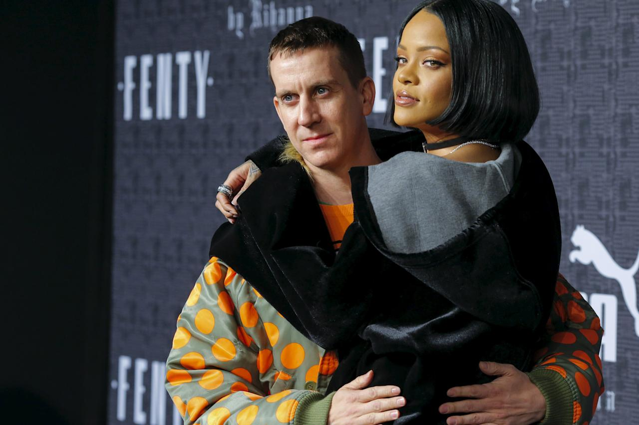 Fashion designer Scott and Rihanna attend the red carpet before the Fenty PUMA by Rihanna Fall/Winter 2016 collection show during New York Fashion Week in New York