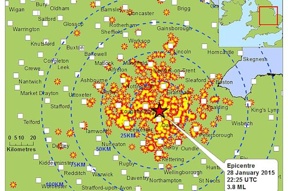 Earthquake measuring 3.8 on Richter scale hits East Midlands