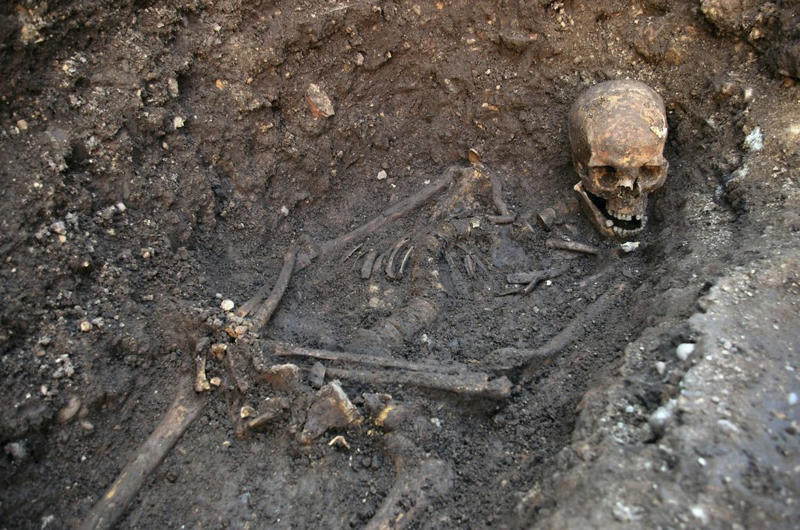 "Undated photo made available by the University of Leicester, England, Monday Feb. 4 2013  of the remains  found underneath a car park last September at the Grey Friars excavation in Leicester, which have been declared Monday  ""beyond reasonable doubt"" to be the long lost remains of England's King Richard III, missing for 500 years.  Richard was immortalized in a play by  Shakespeare as a hunchbacked usurper who left a trail of bodies — including those of his two young nephews, murdered in the Tower of London — on his way to the throne. (AP Photo/ University of Leicester)"