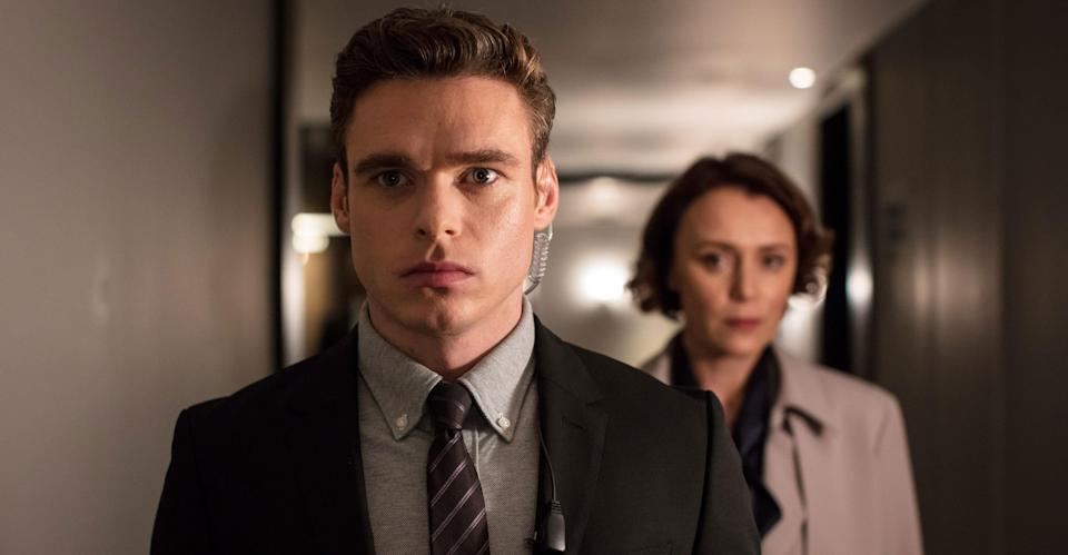 Richard Madden in Bodyguard with Keeley Hawes (BBC Pictures).