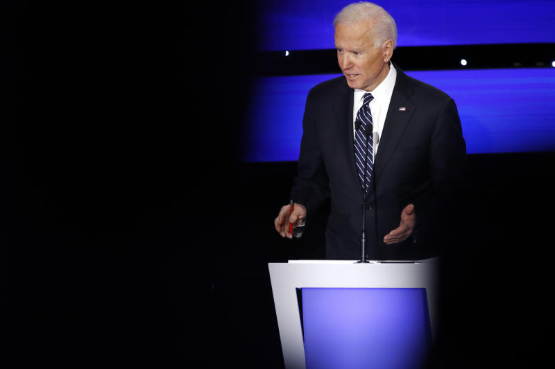 Democratic presidential candidate former Vice President Joe Biden speaks, Tuesday, Jan. 14, 2020, during a Democratic presidential primary debate hosted by CNN and the Des Moines Register in Des Moines, Iowa. (AP Photo/Patrick Semansky)
