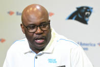 Carolina Panthers' Perry Fewell speaks during his first press conference as the NFL football team's interim head coach, at Bank of America Stadium in Charlotte, N.C., Wednesday, Dec. 4, 2019. Ron Rivera was fired as head coach on Tuesday. (David T. Foster III/The Charlotte Observer via AP)